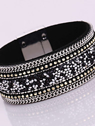 cheap -New Fashion Charm Women Magnet Alloy Buckle Leather Shiny Metal Multilayer Magnetic Width Bangle Bracelet