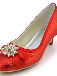 cheap -Women's Shoes Glitter Spring Summer Low Heel Bowknot Sequin Sparkling Glitter for Wedding Dress Party & Evening Red Blue Pink Golden