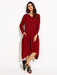 Women's Asymmetrical Solid Red/Navy Blue Swing Dress,Casual/Plus Sizes Asymmetric Loose Fashion V Neck (Linen/Cotton)