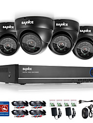 SANNCE® 4CH 720P DVR Surveillance System 1280*720 Indoor Outdoor Security Cameras Maximum IR Distance (30m)HDD
