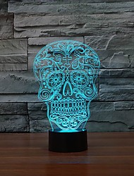 Creative Artistic 3D Visualization Skull Shpe LED Night Table Lamp for Home Decoration Color-Changing Night Light