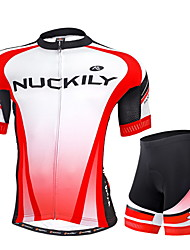 cheap -Nuckily Men's Short Sleeves Cycling Jersey with Shorts - Red Geometic Bike Shorts Jersey Clothing Suits, Ultraviolet Resistant,