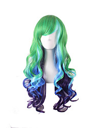 perruques synthétiques couleur vert violet bleu multi d'onde de couleur gradient de style de cheveux harajuku lolita perruques cosplay