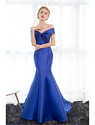 Mermaid / Trumpet Off-the-shoulder Court Train Satin Formal Evening Dress with Draping by Embroidered bridal