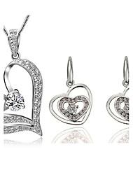 Women's Super Flash Zircon Heart Shape Earrings Necklace Set