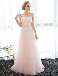 Sheath / Column Illusion Neckline Floor Length Chiffon Tulle Prom Formal Evening Dress with Crystal Detailing by Embroidered bridal