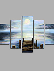 """cheap -Stretched (Ready to hang) Hand-Painted Oil Painting 60""""x36"""" Canvas Wall Art Modern Abstract Sea Sunrise"""