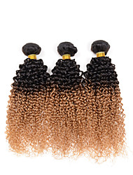cheap -Indian Hair Kinky Curly / Curly Weave Ombre Hair Weaves 3 Bundles 10-26inch Human Hair Weaves #T1B -27