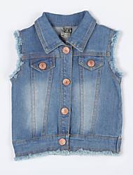 preiswerte -Mädchen Jeans / Weste-Lässig/Alltäglich einfarbig Baumwolle Herbst Blau