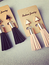 cheap -High Quality Korean Fashion Geometric Triangle Tassel Earrings Faux Suede Fabric Long Dangle Earrings For Women Gifts