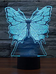 Butterfly Touch Dimming 3D LED Night Light 7Colorful Decoration Atmosphere Lamp Novelty Lighting Light