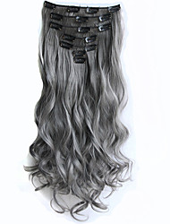 cheap -Gray Clip in Hair Extensions 7pcs/set 22inch 56cm Long Hairpiece Curly Wavy Heat Resistant Synthetic Hair Extension