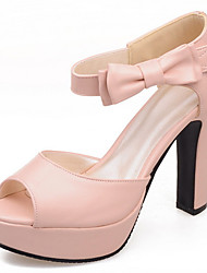 cheap -Women's Shoes Leatherette Spring Summer Sandals Chunky Heel Platform Bowknot Buckle Hollow-out for Party & Evening Dress White Blue Pink