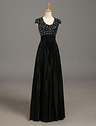 a-line совок длина пола шеи charmeuse мать невесты платье с бисером by nameilisha