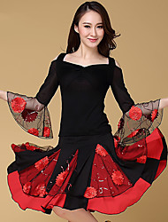 cheap -Latin Dance Outfits Women's Performance Cotton Embroidery 3 Pcs Black / Light Red 3/4 Length Sleeve Top / Skirt / Shorts