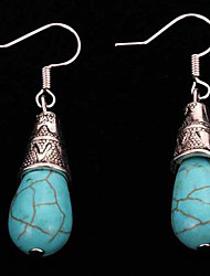 Vintage Ethnic Style Jewelry Turquoise Earrings Tibetan Silver Water Drop Long Pendant Earrings For Women