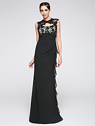 Sheath / Column Jewel Neck Floor Length Chiffon Prom Formal Evening Dress with Lace Side Draping by TS Couture®