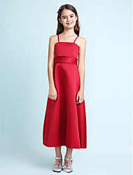 A-Line Princess Spaghetti Straps Knee Length Satin Junior Bridesmaid Dress with Sash / Ribbon Ruffles by LAN TING BRIDE®