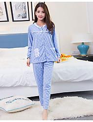 baratos -Mulheres Colarinho de Camisa Roupão Pijamas - Estampado, Poá