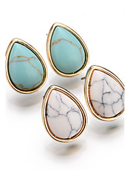 cheap -Women's Stud Earrings Drop Earrings Bohemian Simple Style European Fashion Vintage Gold Plated Turquoise Alloy Oval Drop Jewelry For