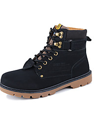 cheap -Men's Shoes Cowhide Spring Combat Boots Comfort Boots Hiking Shoes Booties/Ankle Boots Lace-up for Casual Black Yellow Brown