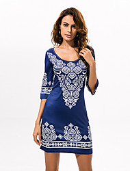 cheap -Women's Boho Round Collar National Boho Print Slim Mid-Sleeve Sheath Dress