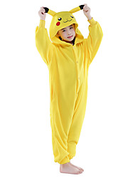 Kigurumi Pajamas Pika Pika Costume Yellow Flannel Kigurumi Leotard / Onesie Cosplay Festival / Holiday Animal Sleepwear Halloween Solid