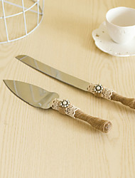 cheap -Wedding Accessories Jute Handle Cake Knife And Server Serving Set with Pearl Flower Decoration