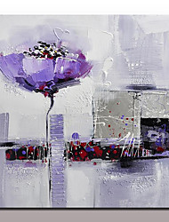 baratos -Pintura a Óleo Pintados à mão - Abstrato / Floral / Botânico Modern Com Moldura