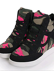 Women's Sneakers Spring / Fall Wedges Canvas Outdoor Wedge Heel Lace-up Black / Gray Sneaker