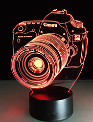 cheap -Novelty 3D Acrylic Entertainment Camera Illusion LED Lamp USB Table Light Rgb Night Light Romantic Bedside Decortion Lamp