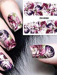 cheap -Fashion Printing Pattern Water Transfer Printing Gouache Flower Purple Rose Nail Stickers