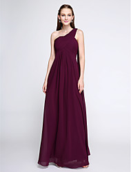 cheap -Sheath / Column One Shoulder Floor Length Chiffon Bridesmaid Dress with Criss Cross by LAN TING BRIDE®