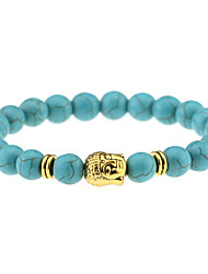 cheap -Fashion Natural Stone Accessories Beads Bracelets Jewelry Men / Women Gold / Silver Buddha Turquoise Bracelet