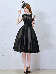 cheap -A-Line Illusion Neck Knee Length Lace / Tulle Little Black Dress Cocktail Party Dress with Beading / Sequin / Appliques by LAN TING Express