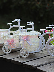 cheap -Artificial flowers Plastic Tricycle Bike Flower basket Float Home Decoration Random Delivery