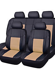 cheap -11Pcs PU Leather Black With Beige Auto Car-Covers Full Synthetic Set Seat Covers