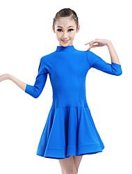 Shall We Children Performance Chinlon Ruched Collar 1 Piece 3/4 Length Sleeve Natural Dress Latin Dance Dresses