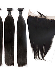 cheap -Indian Hair Straight Hair Weft with Closure Human Hair Weaves Black Human Hair Extensions