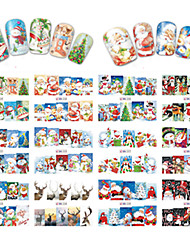 cheap -12 Designs Nail Art Stickers Beautiful Christmas Image Red Santa Claus Snowman Nail Beauty BN229-240