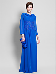 cheap -Sheath / Column Cowl Neck Floor Length Chiffon Mother of the Bride Dress with Appliques by LAN TING BRIDE®