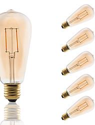 cheap -GMY® 6pcs 180 lm E26/E27 LED Filament Bulbs ST64 2 leds COB Decorative Amber AC 220-240V