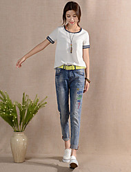 cheap -Women's High Rise Inelastic Harem Jeans Pants,Casual Print Polyester All Seasons