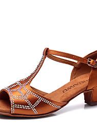 Latin Kid's Dance Shoes Sandals Satin Rhinestone Cuban Heel Champagne/Brown