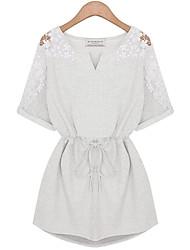 abordables -Ample Robe Femme Grandes Tailles simple,Mosaïque Col en V Mini Manches Courtes Bleu Blanc Gris Coton Eté Taille Normale Micro-élastique