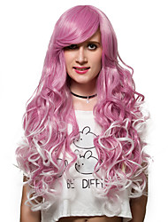 cheap -Light red gradient long curly hair, Europe and the United States fashion wig.