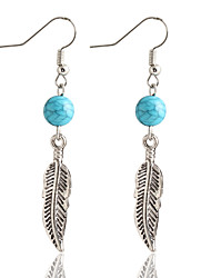 cheap -New Bohemia Style Simple Round Turquoise Beads Leaves Earrings For Women Oorbellen Vintage Fashion Earring