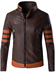 Men's Long Sleeve Casual / Formal / Plus Size Jacket,Special Leather Types Patchwork / Color Block Brown