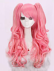cheap -Synthetic Wig / Cosplay & Costume Wigs Curly / Deep Wave Asymmetrical Haircut Synthetic Hair Natural Hairline Pink Wig Women's Long Capless