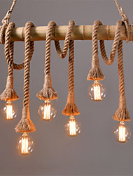 cheap -Vintage Hemp Rope Pendant Lights Loft Creative Industrial Lamp For Living Room Restaurant Bars Clothing Store decoration